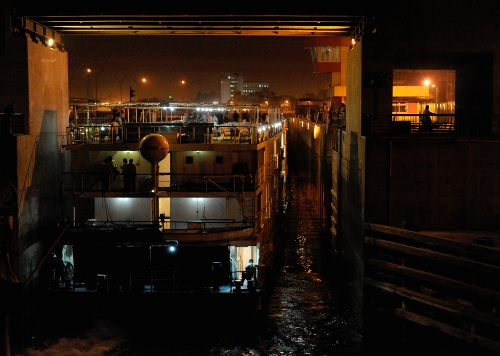 Esna Lock by night.
