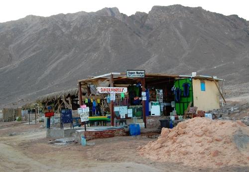 Supermarket ved stranden.