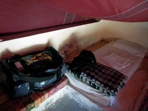 Soveplads i oasen Ksar Ghilane.