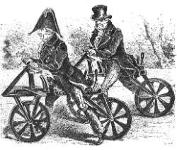 Draisine - Kilde: Salmonsens store illustrerede Konversationsleksikon : 4. Bind. 1895.