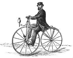 Velocipede - Kilde: Salmonsens store illustrerede Konversationsleksikon : 4. Bind. 1895.