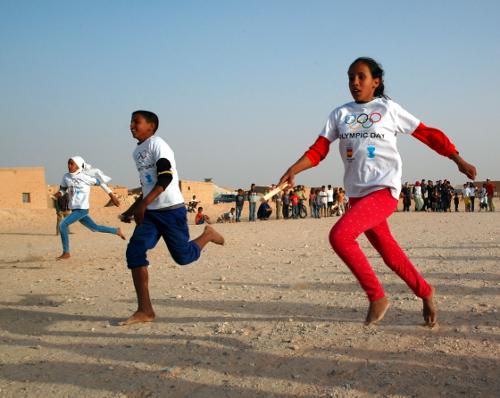 En af de dage hvor jeg var i flygtningelejren Smara blev der afholdt børneolympiade på en åben plads centralt i lejren.