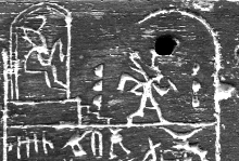 Faraoen Den (Første dynasti, ca. 2970 fvt.) først siddende i hans Heb Sed trone og til højre løbende det symbolske løb som bevis på at han havde styrken til at reagere.