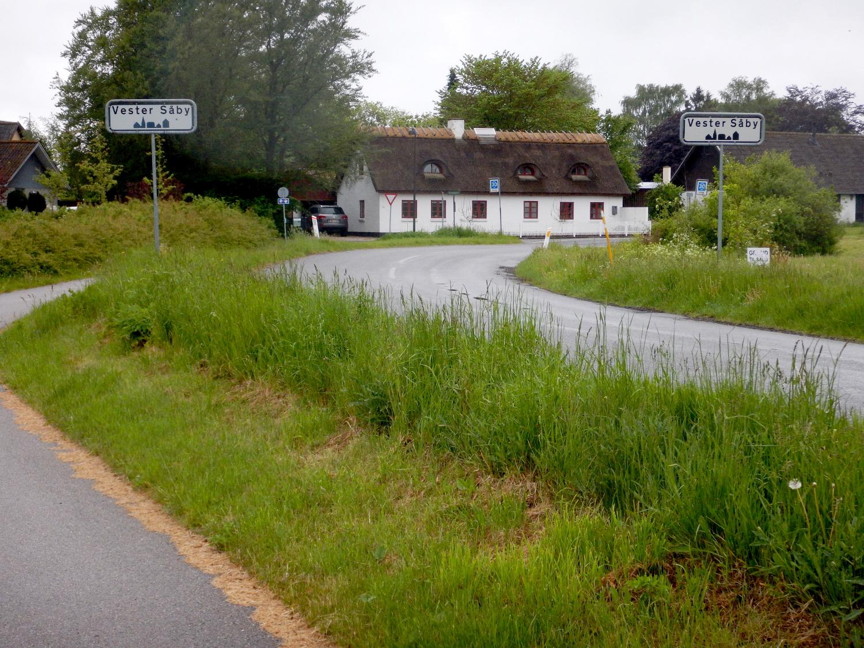 Vej der fører ind i Vester Såby med en hvid, stråtægt hus