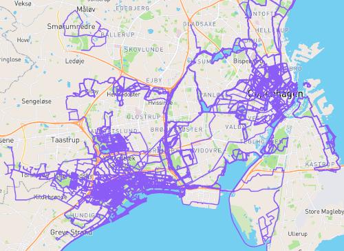 Kort med lilla markering af gennemførte veje.
