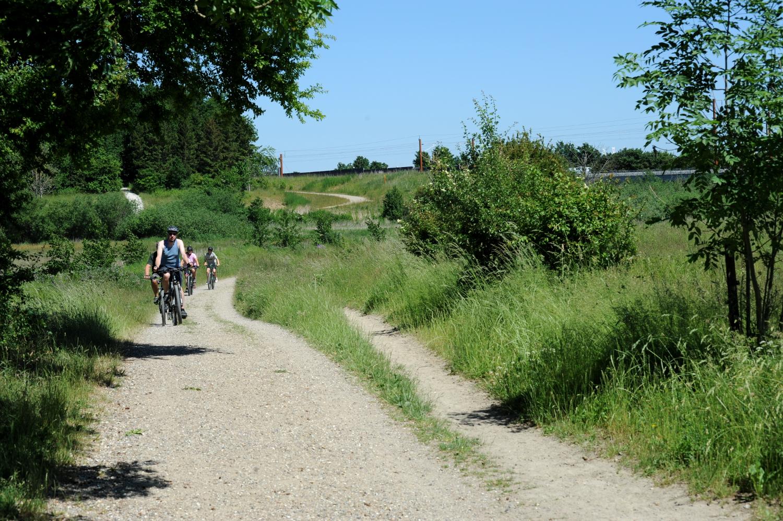 Cyklister på vej ad grusvej i grønt landskab.